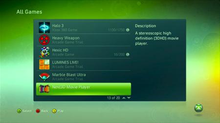 3D přehrávač Next3D pro Xbox 360